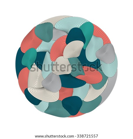 Circle spiral ornament. Op art lined mandala. Painting book. Color background. - stock vector