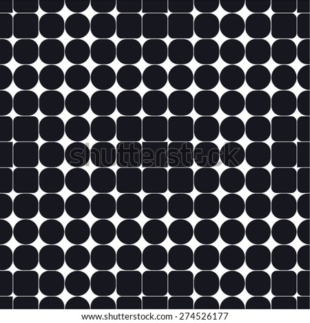 Circle Square monochrome grid pattern, seamless vector background. - stock vector