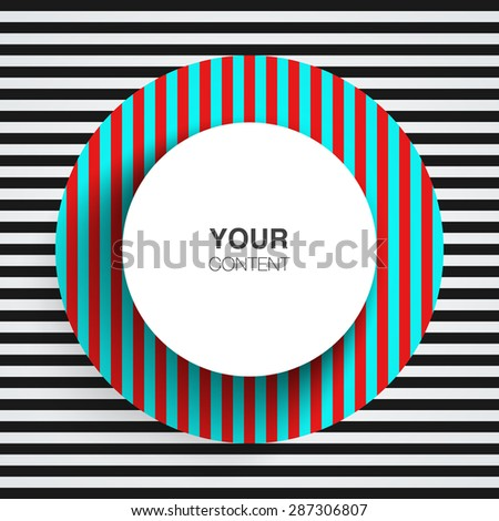 Circle text box design for your content with abstract op art background vector stock eps 10 illustration - stock vector