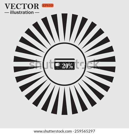 Circle. The sun. Rays. Black icons on white. Discount label, vector illustration, EPS 10 - stock vector