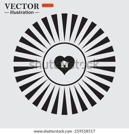 Circle. The sun. Rays. Black icons on white.  House with Heart Icon, vector illustration, EPS 10 - stock vector