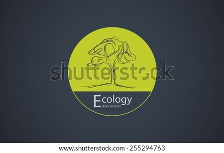 Circle Tree vector logo design - stock vector
