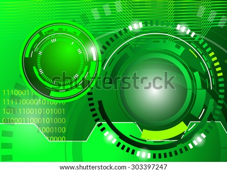 circle Vector illustration of green abstract techno background - stock vector