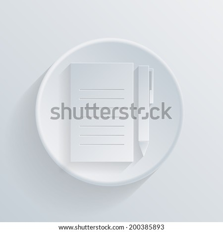 circle white paper icon with a long shadow. sheet of paper and a pen - stock vector