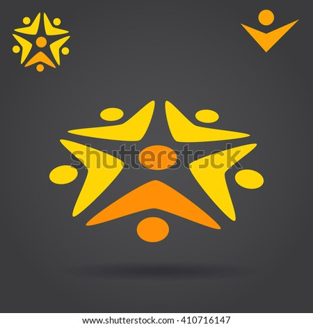 Circle with people which work together, solution finding logo concept, 2d and 3d vector illustration, eps 10 - stock vector