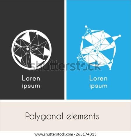 Circle with polygon  logo design template - stock vector