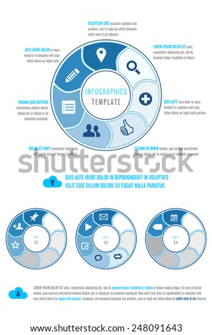 Circles and icons - infographics template with place for your text. Vector illustration. - stock vector