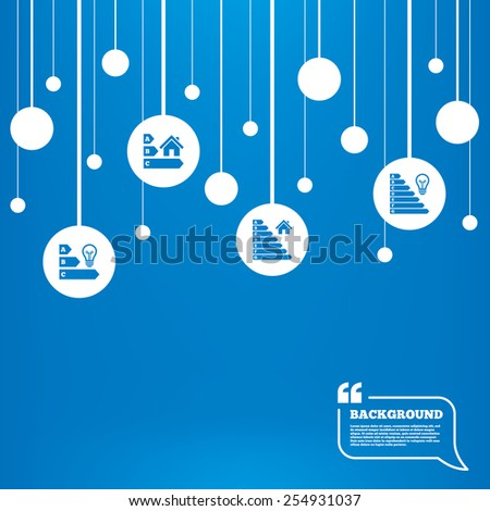 Circles background with lines. Energy efficiency icons. Lamp bulb and house building sign symbols. Icons tags hanged on the ropes. Vector - stock vector