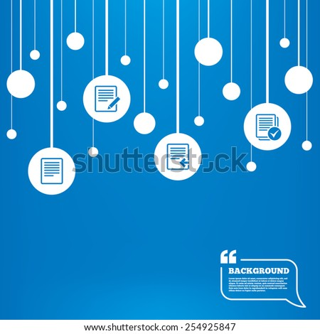 Circles background with lines. File document icons. Upload file symbol. Edit content with pencil sign. Select file with checkbox. Icons tags hanged on the ropes. Vector - stock vector