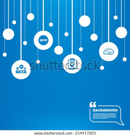 Circles background with lines. Quiz icons. Human brain think. Checklist symbol. Survey poll or questionnaire feedback form. Questions and answers game sign. Icons tags hanged on the ropes. Vector - stock vector