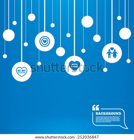Circles background with lines. Valentine day love icons. Target aim with heart symbol. Couple lovers sign. Icons tags hanged on the ropes. Vector - stock vector