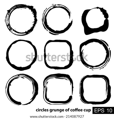 circles grunge of coffee cup - stock vector