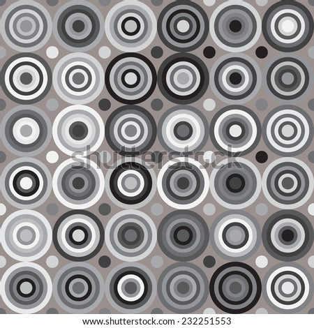 Circles seamless pattern. Abstract geometric background. Gray background. - stock vector
