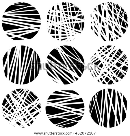 Circles with random chaotic, irregular straight lines. Dynamic lines clipped in circles. - stock vector