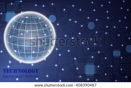 circuit board abstract vector background with globe - stock vector