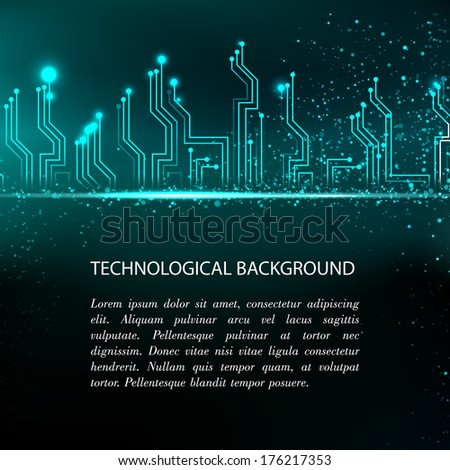 Circuit board background with blue electronics. Vector illustration. - stock vector