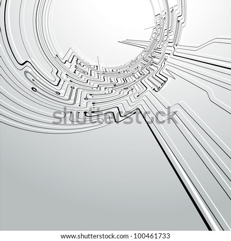 Circuit board concept abstract Background in a tunnel distort view - stock vector