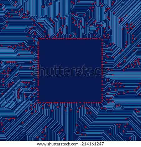 circuit board frame - stock vector