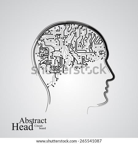 Circuit board human head  eps 10, vector illustration - stock vector