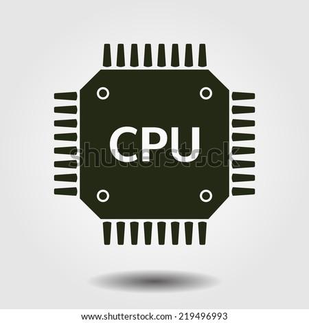 Circuit board  icon. Technology scheme square symbol. Flat design style. - stock vector