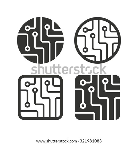 Circuit board icons. Technology scheme circles and squares sign symbols. Flat icons on white. Vector - stock vector
