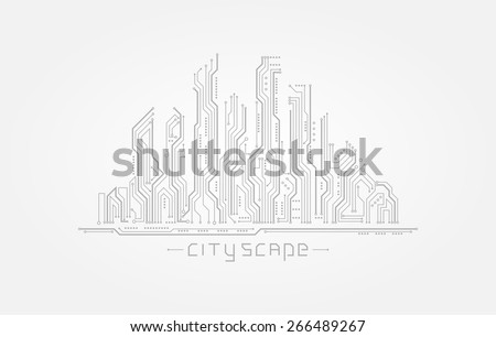 Circuit board in the form of city silhouette. Abstract cityscape isolated on white background. Vector illustration - stock vector