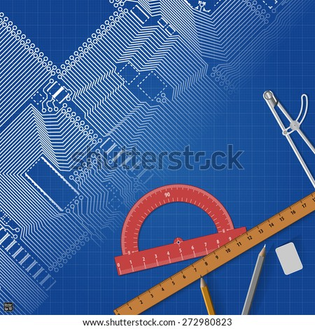 Circuit board on a blueprint background - stock vector