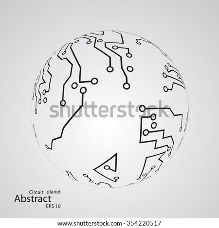 Circuit board planet eps 10, vector illustration - stock vector