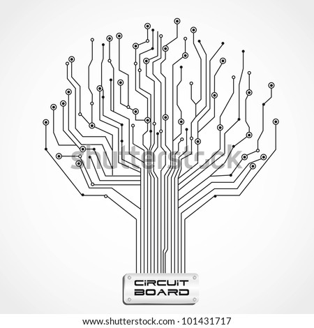 circuit board shaped tree, vector illustration - stock vector