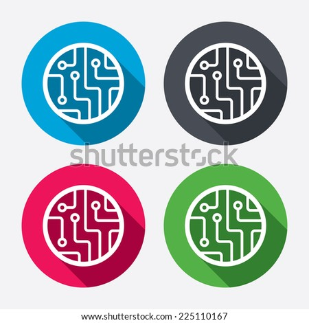 Circuit board sign icon. Technology scheme circle symbol. Circle buttons with long shadow. 4 icons set. Vector - stock vector