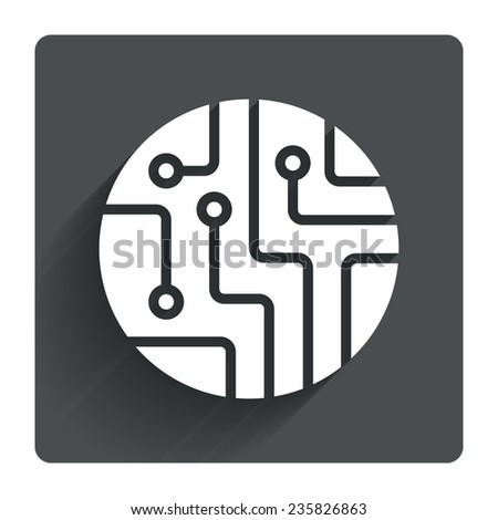 Circuit board sign icon. Technology scheme circle symbol. Gray flat square button with shadow. Modern UI website navigation. Vector - stock vector
