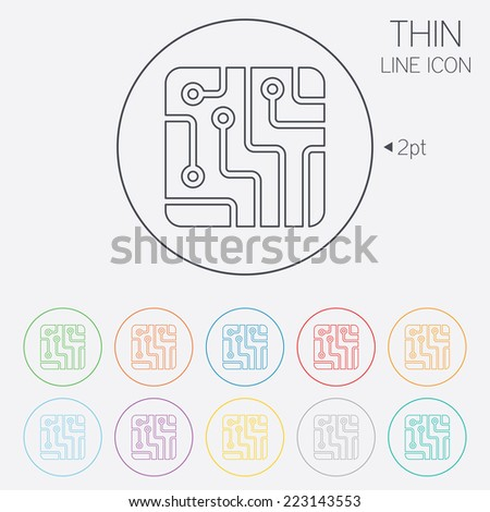 Circuit board sign icon. Technology scheme square symbol. Thin line circle web icons with outline. Vector - stock vector