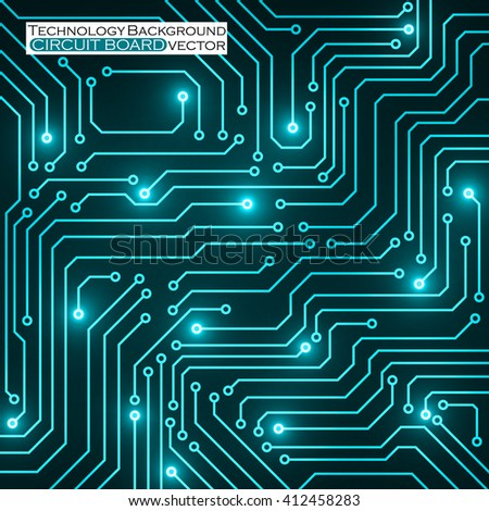 Circuit board, technology background, vector illustration - stock vector