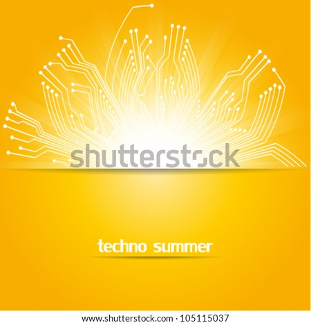 circuit board, technology concept summer background illustration, hot technology - stock vector