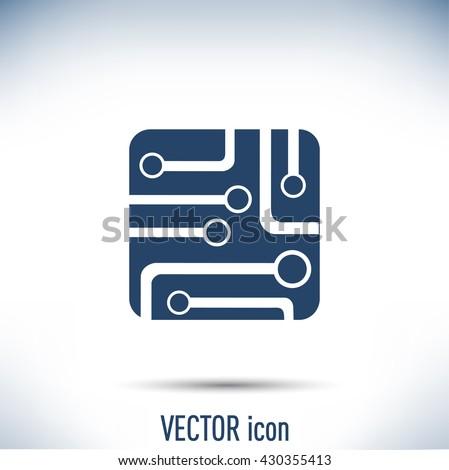Circuit board, technology icon, vector illustration. - stock vector