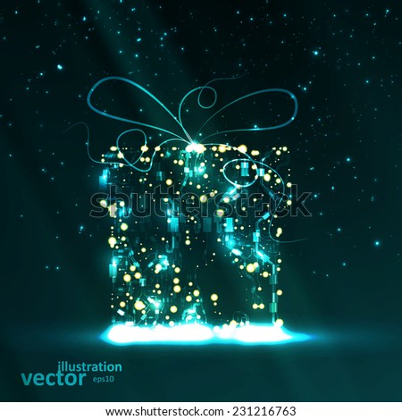 Circuit board vector background, technology illustration, christmas gift eps10 - stock vector
