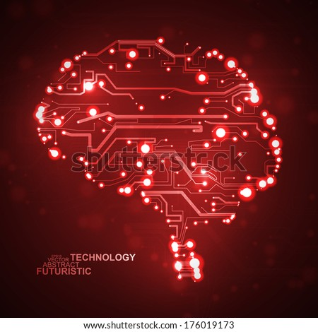 Circuit board vector background, technology illustration, form of brain eps10 - stock vector