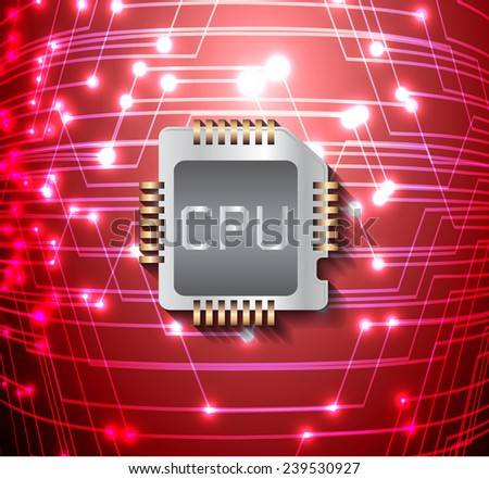 circuit board vector dark red color background, technology illustration. cpu.  - stock vector