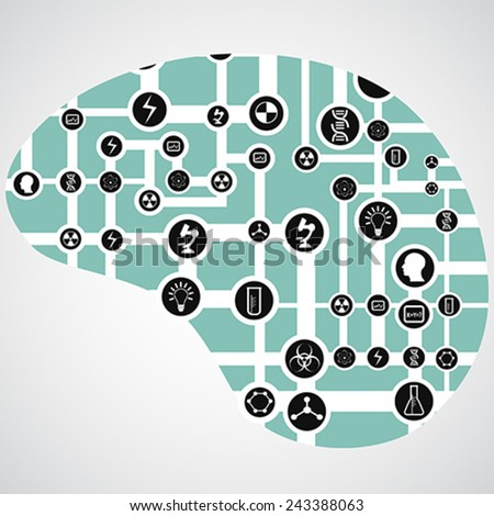 circuit board with app icons in human brain - stock vector