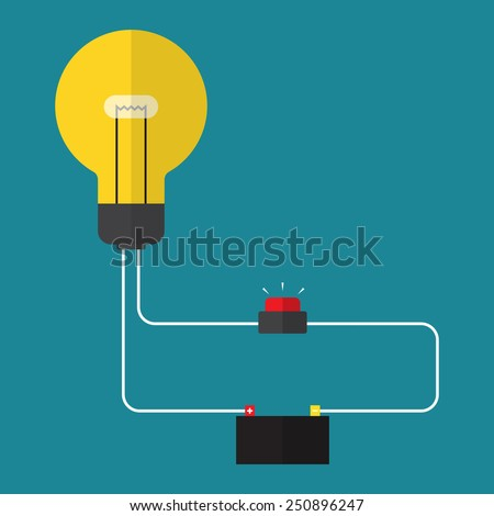 Circuit. concept of power switch. flat design - stock vector