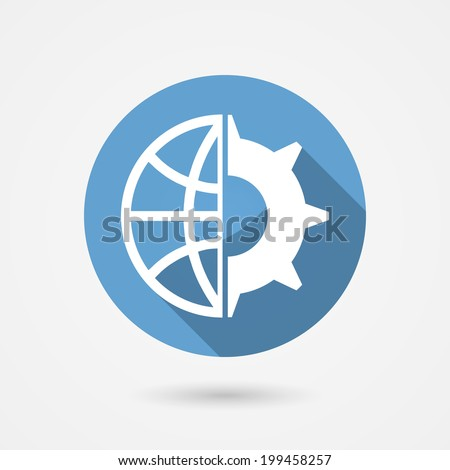 Circular blue vector global technology icon with a globe and gear wheal for tachnological research and industry - stock vector