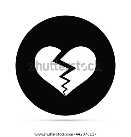 Circular Broken Heart Icon - stock vector