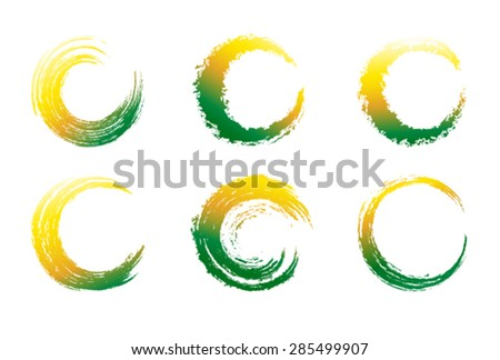 Circular Brush Strokes - stock vector