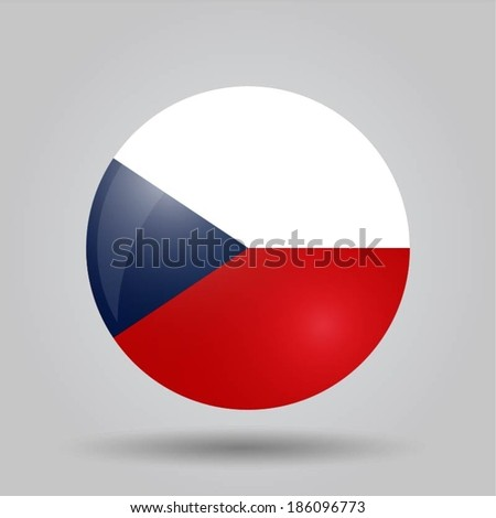 Circular flag with shadow and 3D effect, on grey background - Czech Republic - stock vector