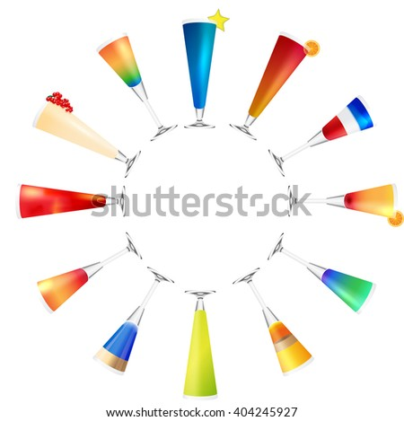 Circular frame with vector colorful cocktails glasses - stock vector