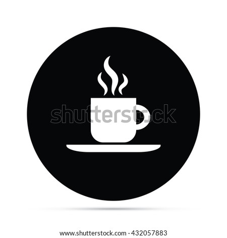 Circular Hot Coffee Icon - stock vector