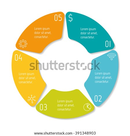 Circular infographic banner with 5 options. Number banner template for diagram, presentation or chart. Progress steps for tutorial. Business concept sequence banner. - stock vector