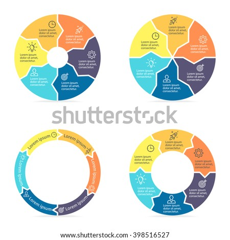 Circular infographics step by step with colored sections. Pie charts of different shapes with inner arrows. Chart, diagram with 6 steps, parts, processes. Vector circle template. - stock vector