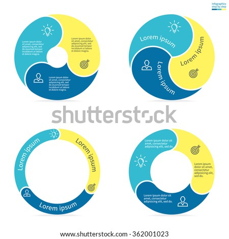 Circular infographics step by step with rounded colored sections. Set of flat pie charts. Chart, diagram with 3 steps, options, parts, processes. Vector circle template in blue and yellow. - stock vector