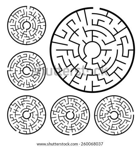 circular maze set isolated on white background - stock vector